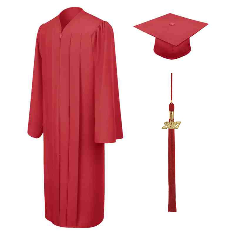 Matte Red High School Cap Gown Tel
