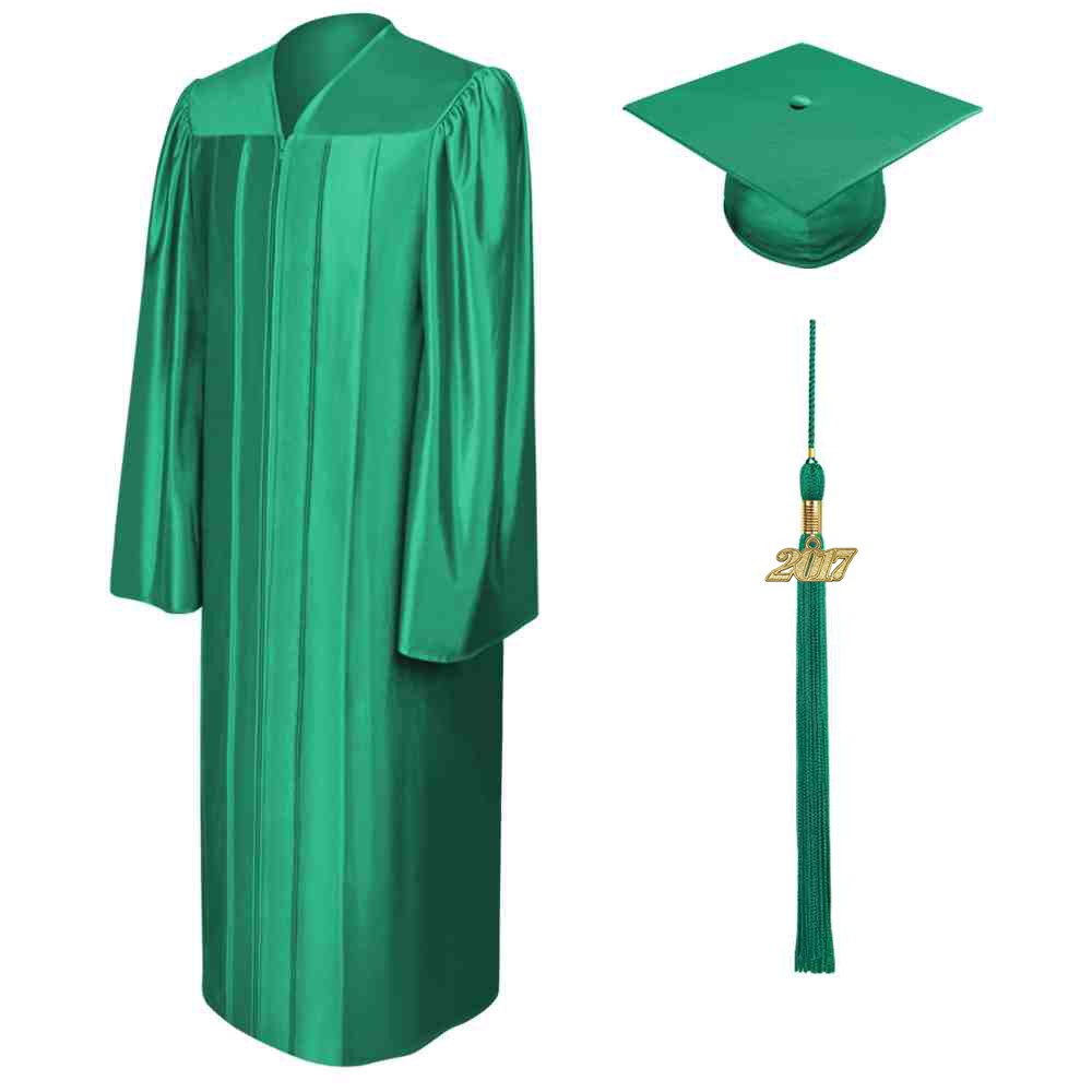 Shiny Emerald Green High School Cap, Gown & Tassel | Gradshop