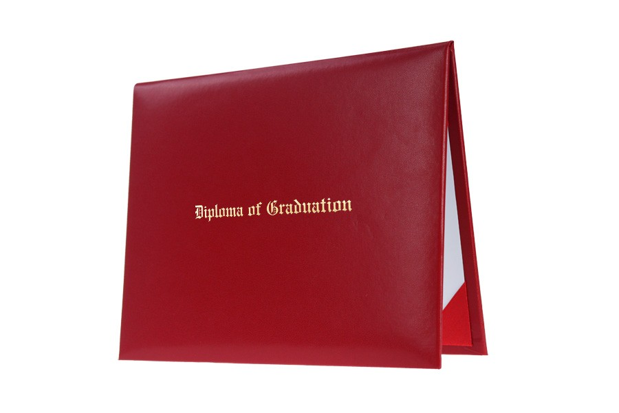 red imprinted elementary diploma cover gradshop