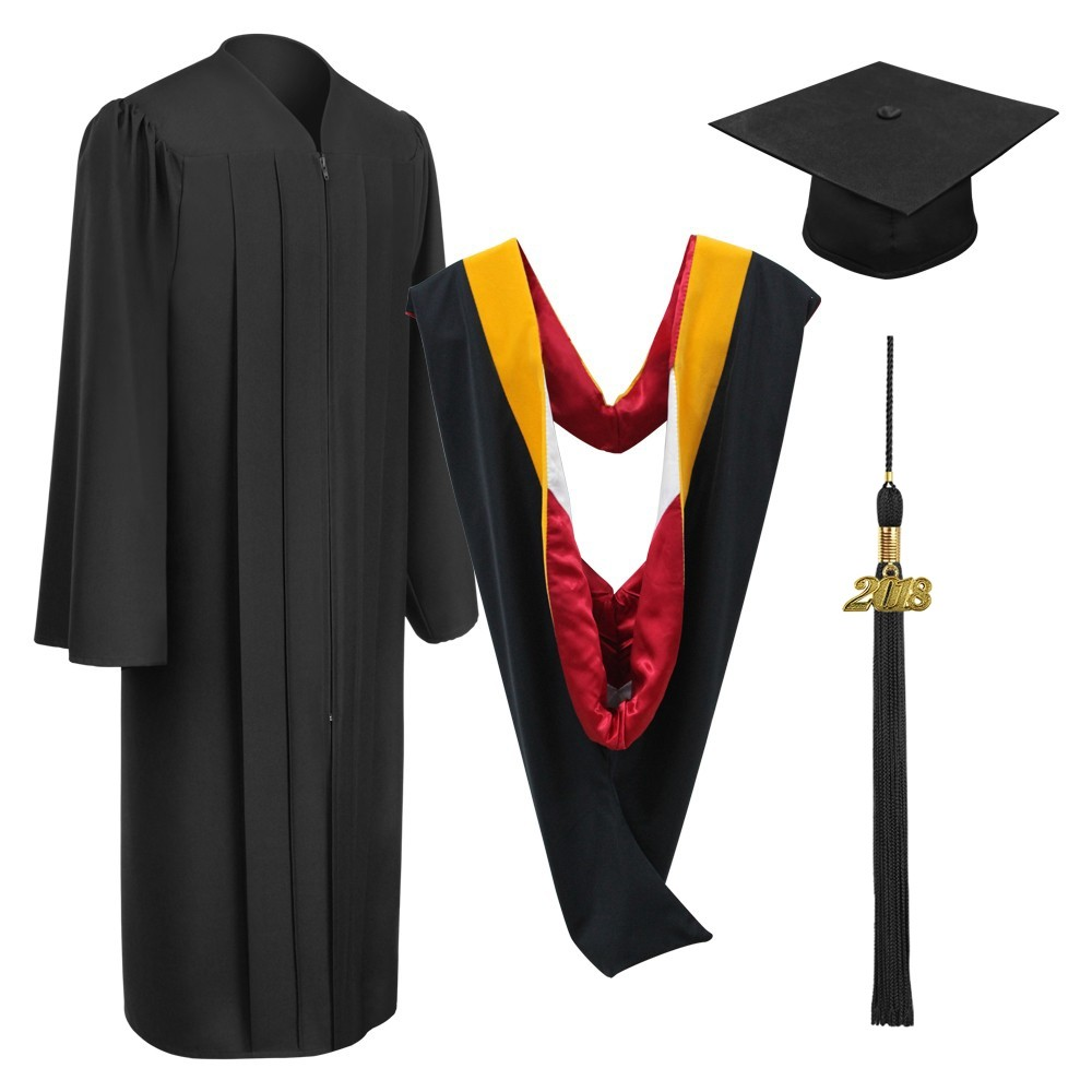 Matte Black Bachelor Academic Cap, Gown, Tassel & Hood   Gradshop