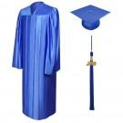 Shiny Royal Blue Bachelor Academic Cap, Gown & Tassel