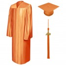 Shiny Orange Bachelor Cap, Gown & Tassel