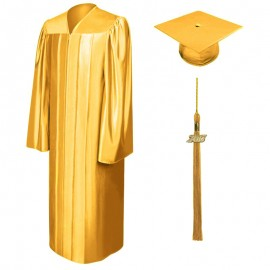 Shiny Antique Gold High School Cap, Gown & Tassel