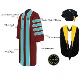 Custom Doctoral Graduation Tam, Gown & Hood Package Doctorate Regalia