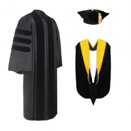 Deluxe Doctoral Graduation Tam, Gown & Hood Package
