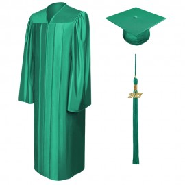 Shiny Emerald Green Elementary Cap, Gown & Tassel