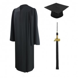 Eco-Friendly Black Bachelor Cap, Gown & Tassel