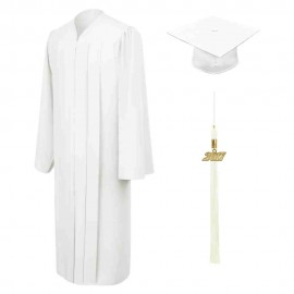 Matte White High School  Cap, Gown & Tassel