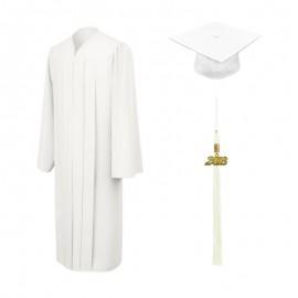 Matte White Bachelor Academic Cap, Gown & Tassel