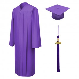 Matte Purple Bachelor Cap, Gown & Tassel