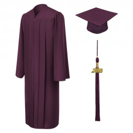 Matte Maroon Bachelor Academic Cap, Gown & Tassel
