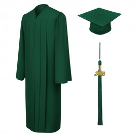Matte Hunter Bachelor Cap, Gown & Tassel
