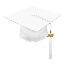 Matte White Middle School Cap & Tassel