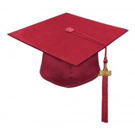 Matte Red High School Cap & Tassel