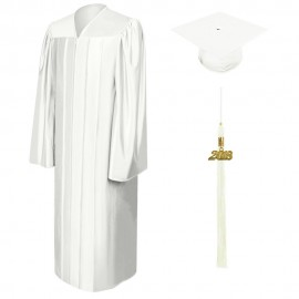 Shiny White Bachelor Cap, Gown & Tassel