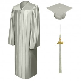 Shiny Silver Bachelor Academic Cap, Gown & Tassel