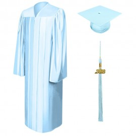Shiny Light Blue Bachelor Cap, Gown & Tassel