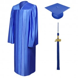 Shiny Royal Blue Bachelor Cap, Gown & Tassel