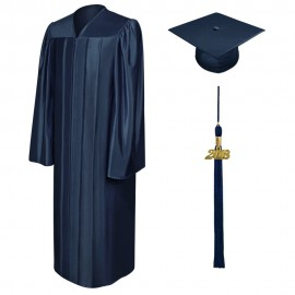Shiny Navy Blue Bachelor Cap, Gown & Tassel