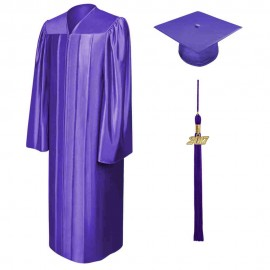 Shiny Purple High School  Cap, Gown & Tassel
