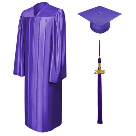 Shiny Purple Bachelor Cap, Gown & Tassel