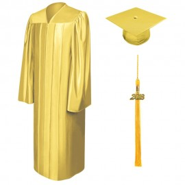 Shiny Gold Bachelor Academic Cap, Gown & Tassel