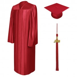 Shiny Red Bachelor Cap, Gown & Tassel