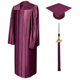 Shiny Maroon High School  Cap, Gown & Tassel