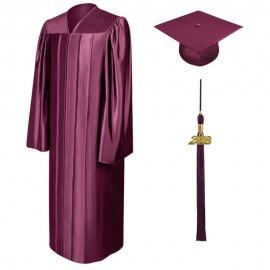 Shiny Maroon Bachelor Cap, Gown & Tassel