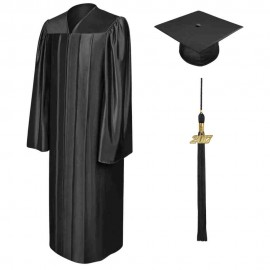 Shiny Black High School Cap, Gown & Tassel