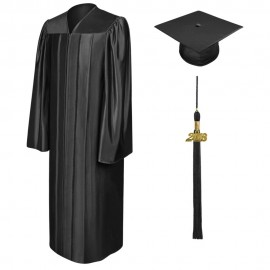 Shiny Black Bachelor Cap, Gown & Tassel