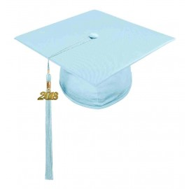 Shiny Light Blue High School Cap & Tassel