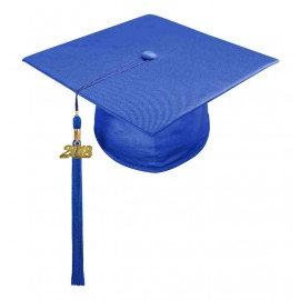 Shiny Royal Blue Middle School Cap & Tassel