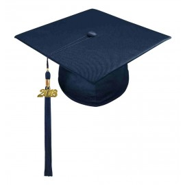 Shiny Navy Blue Middle School Cap & Tassel