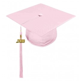 Shiny Pink High School Cap & Tassel