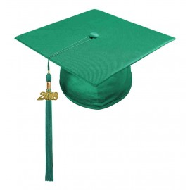 Shiny Emerald Green Middle School Cap & Tassel