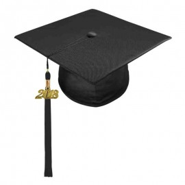 Shiny Black Middle School Cap & Tassel