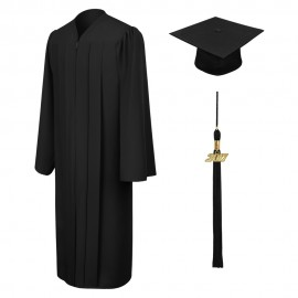 Matte Black Middle School Cap, Gown & Tassel
