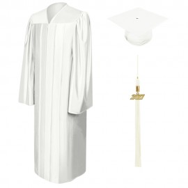 Shiny White Middle School Cap, Gown & Tassel