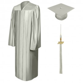 Shiny Silver Middle School Cap, Gown & Tassel