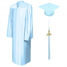 Shiny Light Blue Middle School  Cap, Gown & Tassel