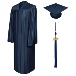 Shiny Navy Blue Middle School Cap, Gown & Tassel