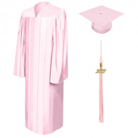 Shiny Pink Middle School Cap, Gown & Tassel