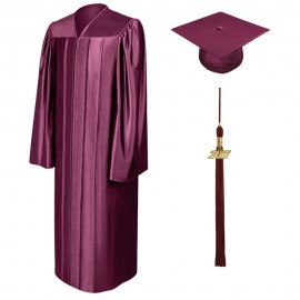 Shiny Maroon Middle School Cap, Gown & Tassel