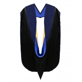 Deluxe Doctoral Academic Hood Dark Blue Velvet, Royal Blue & Gold