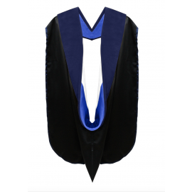 Deluxe Doctoral Academic Hood Dark Blue Velvet, Royal Blue & White