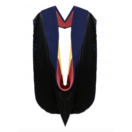 Deluxe Doctoral Academic Hood Dark Blue Velvet, Red & Gold