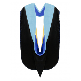 Deluxe Doctoral Academic Hood Light Blue Velvet, Royal Blue & Gold