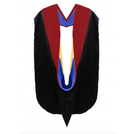 Deluxe Doctoral Academic Hood Scarlet Velvet, Royal Blue & Gold