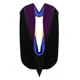 Deluxe Doctoral Academic Hood Purple Velvet, Royal Blue & Gold